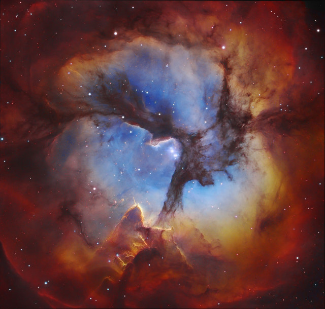 The three- lobed Triffid nebula consists of three types of nebulae in one.
