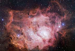 The emission nebula M8 in Sagittarius. Hubble Space Telescope image.