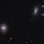 Spiral galaxies, M77 (face-on) and NGC 1055. Nasa image