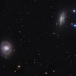 Spiral galaxies, M77 (face-on) and NGC 1055. Nasa image