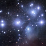 The nebulosity associated with M45 is not the progenitor of the cluster. Instead, it is a nebula through which M45 is passing. NASA Image, Robert Gendler