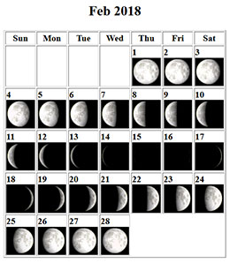 Lunar Calendar February 2018 Tucson Amateur Astronomy Association